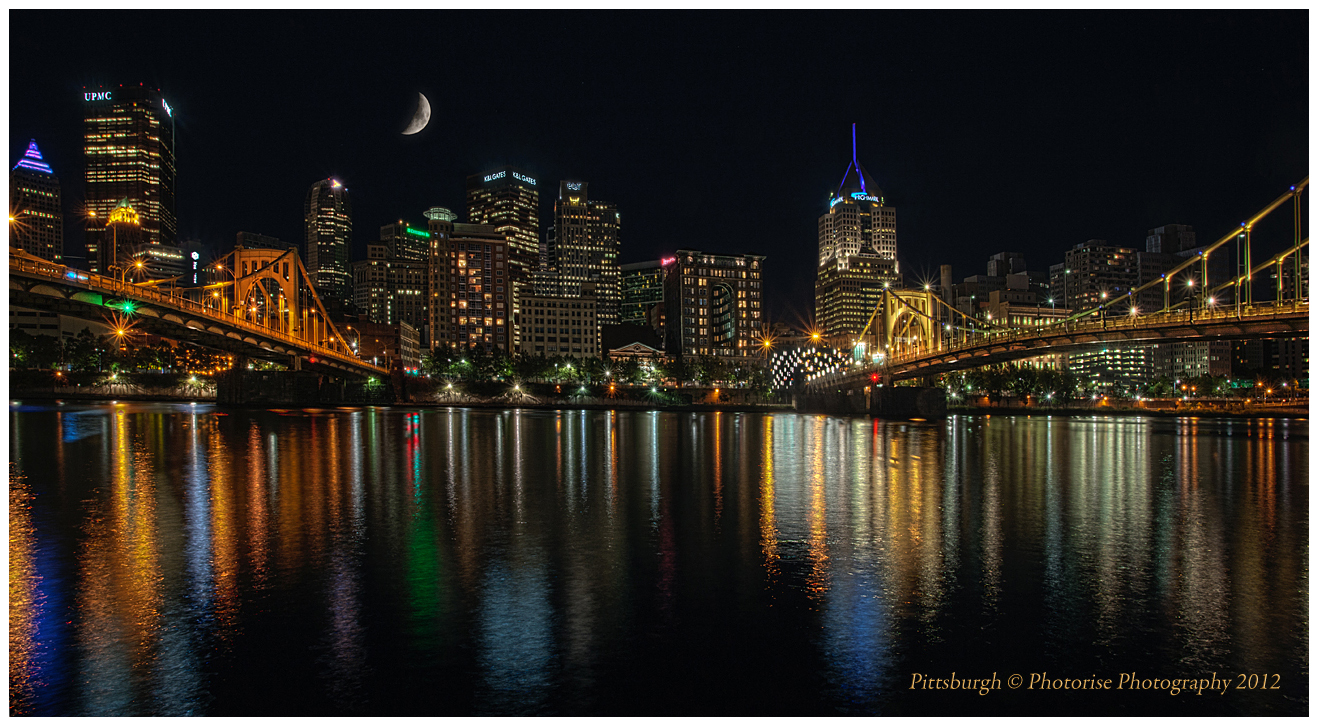 Pittsburgh Night Cityscape Skyline Downtown Archives